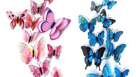 Samolepka na zeď v provedení motýlků - 12 ks