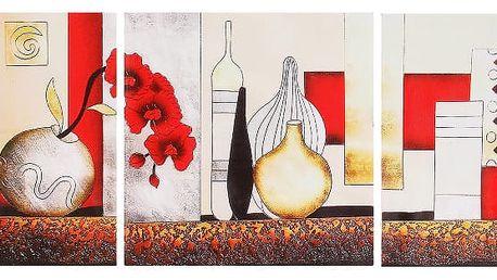 Moderní obraz bez rámu ze 3 kusů - Vázy
