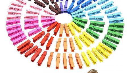 Dekorativní mini kolíčky v duhových barvách - 100 kusů