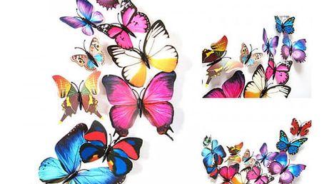Samolepka na zeď - barevní 3D motýlci - 12 ks