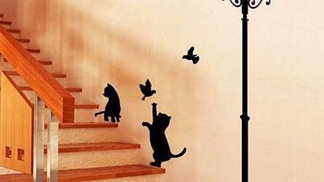 Samolepka na zeď - kočky s lampou - dodání do 2 dnů