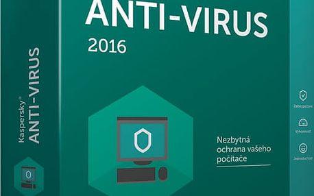 Kaspersky Anti-Virus 2017 CZ, 1PC, 1 rok, nová licence - KL1171XCAFS