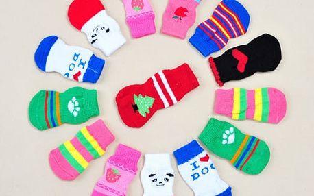 Roztomilé ponožky pro štěňátka 4 ks