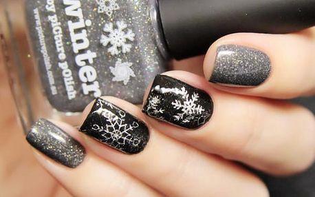 Samolepky na nehty se zimním motivem - štříbrné