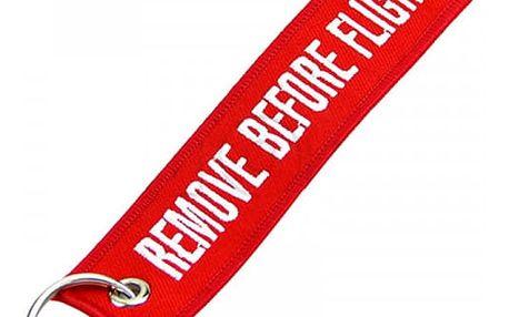 Přívěsek nejen na klíče v červené barvě – Remove before flight