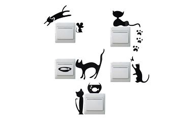 Samolepky kočiček na vypínače - dodání do 2 dnů
