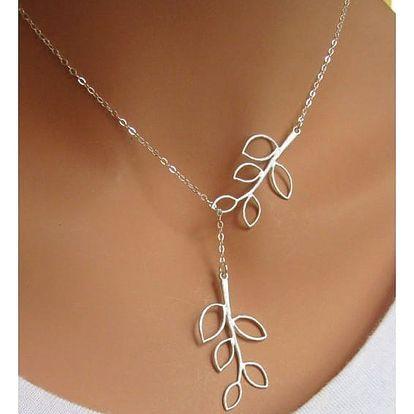 Decentní náhrdelník s lístečky - dodání do 2 dnů