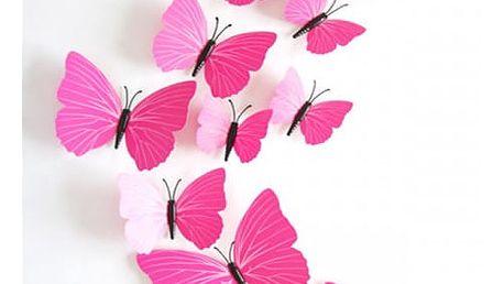 3D samolepky růžových motýlů - dodání do 2 dnů