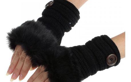 Dámské rukavice s umělým kožíškem - černá - dodání do 2 dnů
