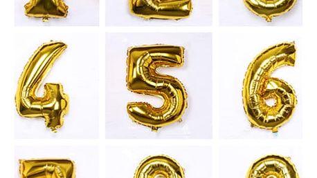 Balonek v podobě čísla ve zlaté barvě - 1 kus