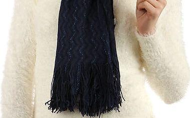 Pletená šála s třásněmi modrá