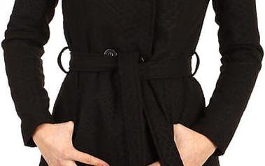 Stylový kabátek s kapucí a s jemným hadím vzorem černá