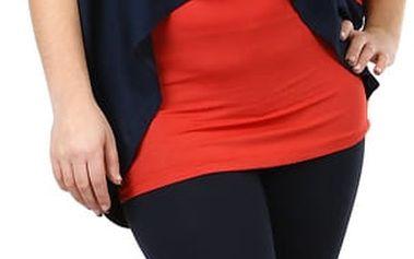 Oversized tričko v kombinaci s tílkem tmavě modrá