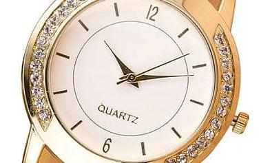 Dámské hodinky s kamínky ve zlaté barvě