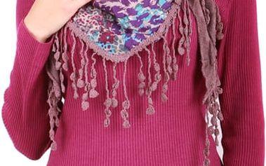 Stylový, hřejivý šátek starorůžová