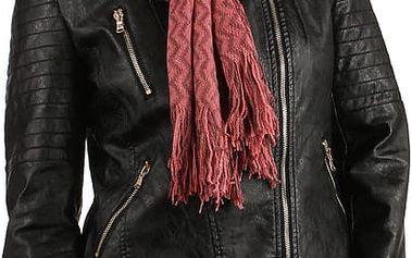 Pletená šála s třásněmi starorůžová