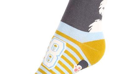 Proužkované ponožky se psem tmavě šedá