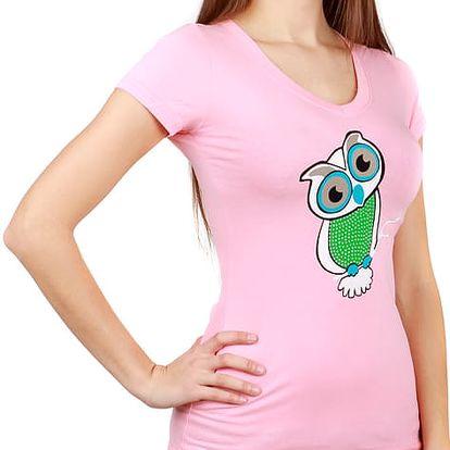 Veselé tričko se sovou světle růžová