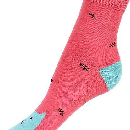 Dámské ponožky se zvířátky červená