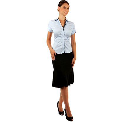 Dámská elegantní košile- krátký rukáv světle modrá