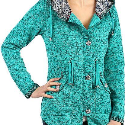 Dámská zateplená bunda s knoflíky zelená