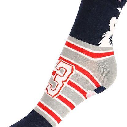 Proužkované ponožky se psem tmavě modrá