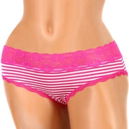 Proužkované dámské kalhotky s krajkou tmavě růžová