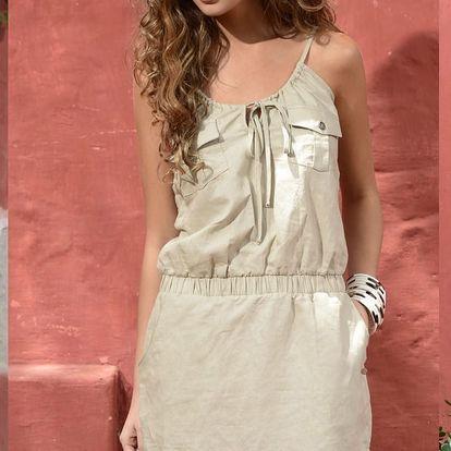 Dámské šaty Phax Natural, plátěné, béžové