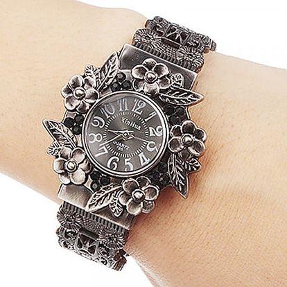 Vintage dámské hodinky s květinovými motivy