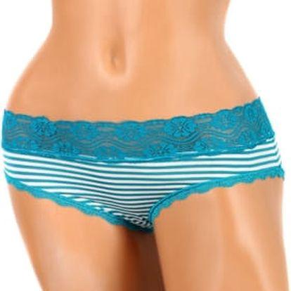 Proužkované dámské kalhotky s krajkou tyrkysová
