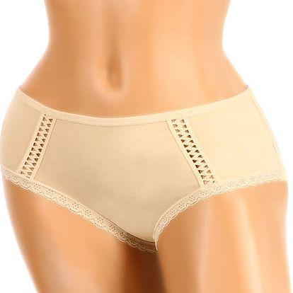 Jednobarevné nohavičkové kalhotky béžová