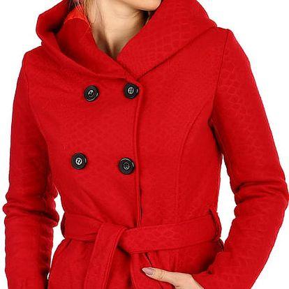 Stylový kabátek s kapucí a s jemným hadím vzorem červená