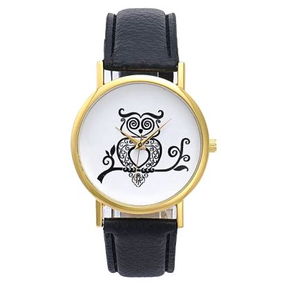 Dámské hodinky s černobílou sovičkou