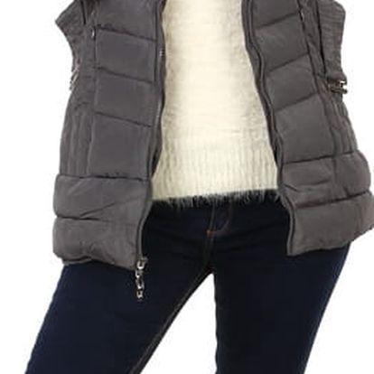 Zimní bunda s kožešinou na kapuci šedá