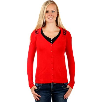 Elegantní svetřík s krajkovou vsadkou červená