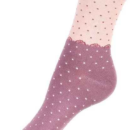 Dvoubarevné tečkované ponožky fialová