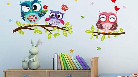 Samolepka na zeď - Tři sovičky na větvi