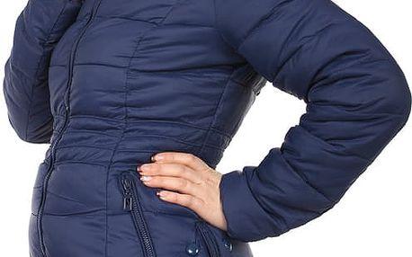 Dámská zimní bunda s ozdobnými patenty modrá