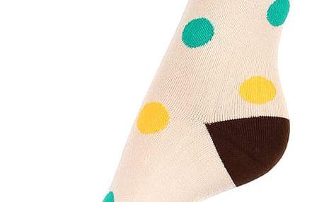 Bambusové ponožky s puntíky béžová