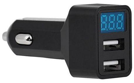 Voltmetr do auta s 2 USB vstupy a teploměrem