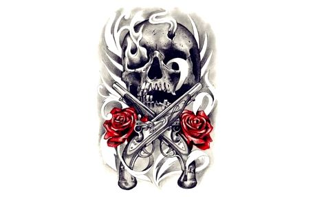 Dočasné tetovaní - lebka s růži - dodání do 2 dnů