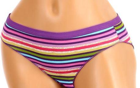 Bavlněné proužkované kalhotky světle fialová