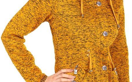 Dámská zateplená bunda s knoflíky žlutá