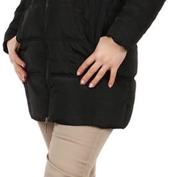 Dámská zimní bunda s páskem- i pro plnoštíhlé černá