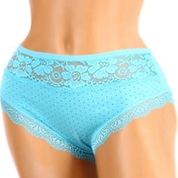 Puntíkované kalhotky s krajkou modrá