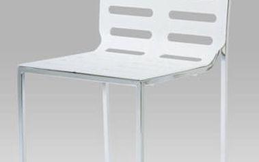 Jídelní židle CT-123-2 WT - chrom/plast bílý