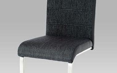 Jídelní židle WE-5025 BK2 černá - chrom/koženka