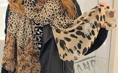 Šátek v leopardích vzorech - 2 barvy - hnědá - dodání do 2 dnů