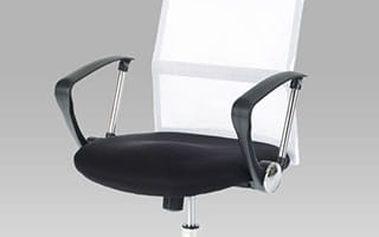 Kancelářská židle KA-E300 WT - černá koženka/bílá látka