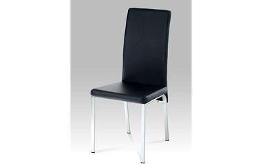 Jídelní židle DCL-840 chrom / koženka černá